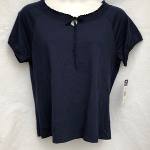 NEW Chaps navy blue Elastic bow neckline top Sz XL